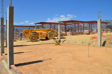 The administration building under construction.