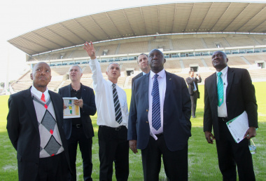 The CAF delegation at the Athlone stadium.