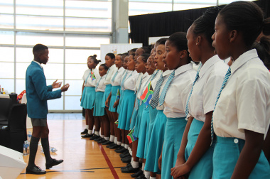 The Chris Hani Arts and Culture High School's choir performs at the opening of the event in Khayelitsha on Friday.
