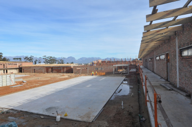The construction of the netball court.