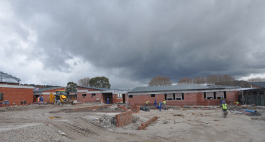 The construction of the Phase 2 classrooms and courtyard.
