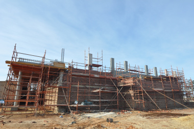 The construction of the school hall.