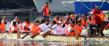 The Department of Cultural Affairs and Sport (DCAS) Dragon Boat team in action.