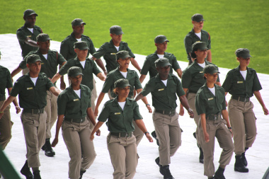 The Drill squad from Chrysalis Academy demonstrating their skills. They had youth in awe with their precise movements.