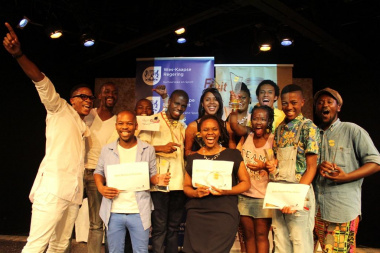 The excited and talented winners of the Zabalaza Theatre Festival