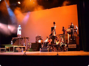 The group of stage performers during a production.