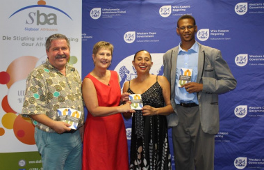 "The handover of the ""Start the Job Hunt"" booklet. From left Dr Niel le Roux, Minister Anroux Marais, Marlene le Roux and Xolisa Tshongolo."
