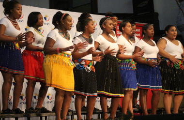 The Igugu le kapa female choir of Gugelethu performs their traditional vocal piece.