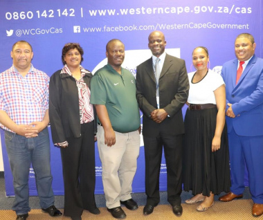 The inaugurated members are Marius Balley, Melanie Wepener, Bongani Mgijima, Chairperson Siphiwo Mavumengwana, Vuyiseka Myakala and Sylverster Figland