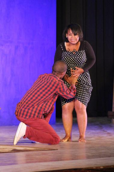 The Khoisan Drama Group in an emotional performance of Die Bloedlyn