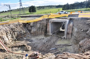 The Klein Welmoed rail underpass culvert under construction.