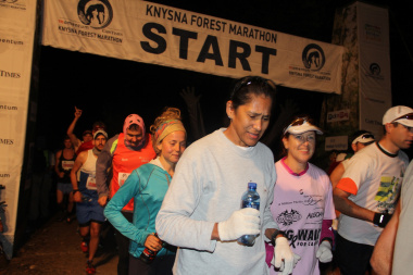 The Knysna Forest Marathon started at 7 'o clock  in cold conditions