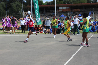 The ladies on the netball courts did not shy away from giving it their all