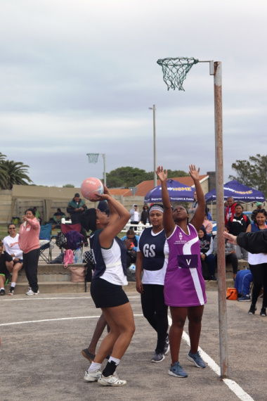 The ladies on the netball courts did not shy away from giving it their all.