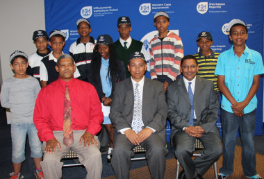 The learners with representatives from the Department of Cultural Affairs and Sport and the Western Cape Sport School.