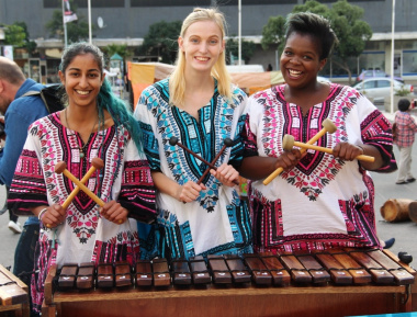 The Marimba band that entertained guests in the Artscape Piazza after the ceremony