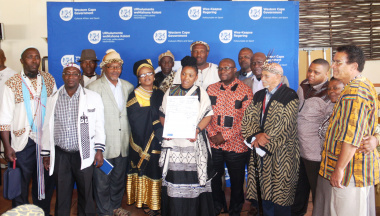 The Ministers of Cultural Affairs and Sport and Human Settlements with traditional leaders