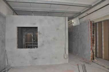 The new CT scanner room under construction.