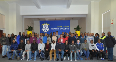 The new trainees at the Gene Louw Traffic College.