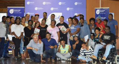 The participants of the Songwriting Workshop hosted by DCAS and Music Exchange, with Martin Myers and Roeshdien Jaz in front.