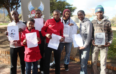The participants with their artwork that was displayed at the Breyten Breytenbach Boekefees/Literary Festival.