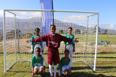 The passionate football girls team from Bontebok, Swellendam at the RSDP Games in Villiersdorp