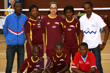 The players from the Gugulethu Badminton Club and their loan player from the Eastern Cape, Ethel Potgieter, at the championships on Thursday.