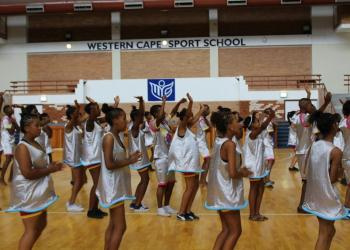 The students during their final rehearsal before the carnival at the Western Cape Sports School