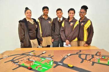 The team of Groenberg Secondary School: From left: Kaitlin Wilson, Michaela Fick, Chadwin Gertze, Lauren Steyn and Densoline Ferreira.