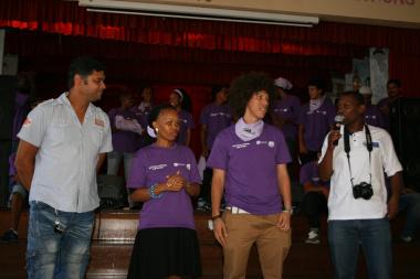 The three facilitators (left to right) Camillo Lombard, Primrose Mrwebi, Jason Meyer with Ayanda Tobi (DCAS)