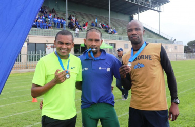 The top 3 winners of the 5km's Fun Run from left, Elfonzo Pieterse, Julius Korkee and Gift Matsake.