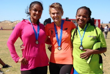 The top 3 winners of the fun run, from left Firdows Asmodien from Health, Caley Bredenkamp from Transport and Public Works and Avele Bulana from Environmental Affairs