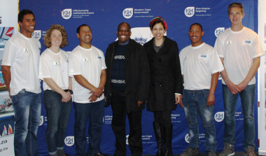 The WC delegation with DCAS Director for Sport Promotion Thabo Tutu and Zaghra Savahl in the centre.