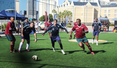 The Western Cape Government soccer 5s team in action against Sanlam.