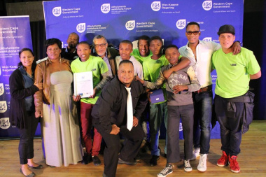 The winners of the Cape Winelands Drama Festival Finale, Team Bring It rejoicing in their victory
