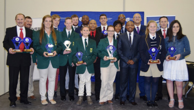 The winners of the Overberg Sport Awards with Deputy Mayor Isaac Sileku, Dr Lyndon Bouah from DCAS, JP Naude from WCPSC and Member of WCPP Theo Olivier.