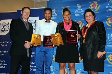 The winners of the sportsman and sportswoman of the year categories with JP Naude van Alderman von Schlicht