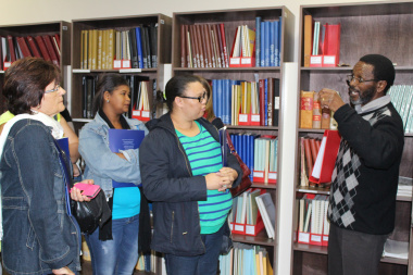 Thembile Ndabeni explains how the reading room operates