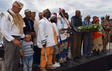 Traditional Chiefs and local community leaders prepared for the wreath laying ceremony on Heritage Day in the West Coast