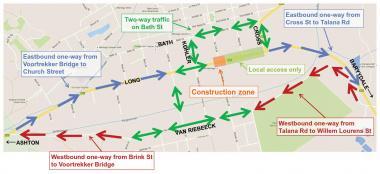 Traffic diversion via Bath Street during 48-hour closure of Long and Du Toit intersection