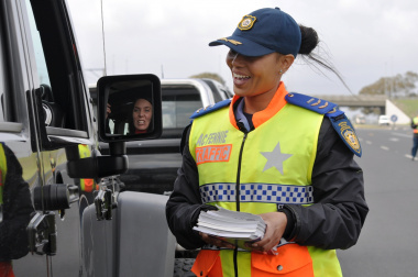 Traffic Inspector Antoinette Fennie engages with a motorist on the R102.