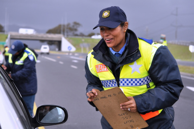 Traffic Officer Shireen Brown during a roadblock.