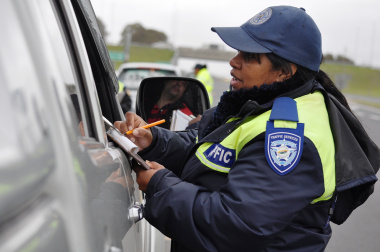Traffic Officer Wendy Daniels inspects a vehicle on the N2 near Somerset West.