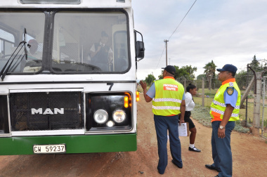 Traffic officers inspect a learner transport vehicle in Worcester.