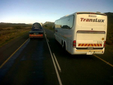 A Translux bus was photographed by a member of the public while allegedly illegally overtaking across a solid line.