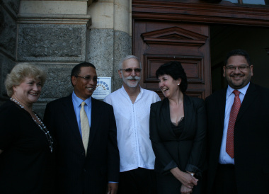 Unveiling of the badge (left to right) Ms Hannetjie du Preez, Minister Ivan Meyer, Mr Andrew Hall, Adv Roneé Robinson and Mr Brent Walters.
