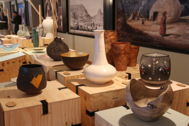 Various design artefacts on display as part of the exhibition