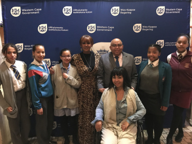 Vicky Sampson,  MEC Fritz,Tarryn Tomlinso and  learners
