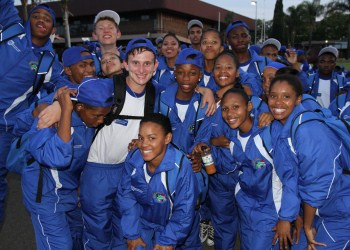 WC Netball player Luzandre van der Berg with her fellow WC team mates at the SANSC Opening ceremony
