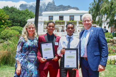 Premier Winde and his wife, Tracy, congratulate the Arrison brothers